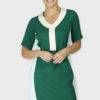 Green Color Block Sheath Dress
