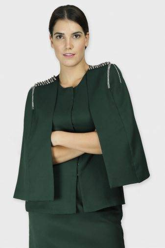 Green Rivet Sequin Cape Jacket