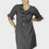 Grey Ruffle Dress With Metal Buckle