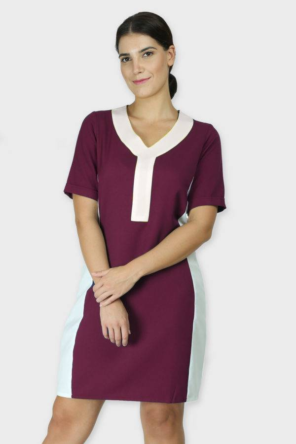 Burgundy Color Block Sheath Dress