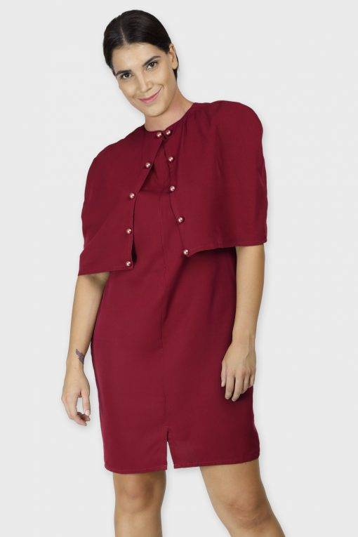Maroon Cape Dress
