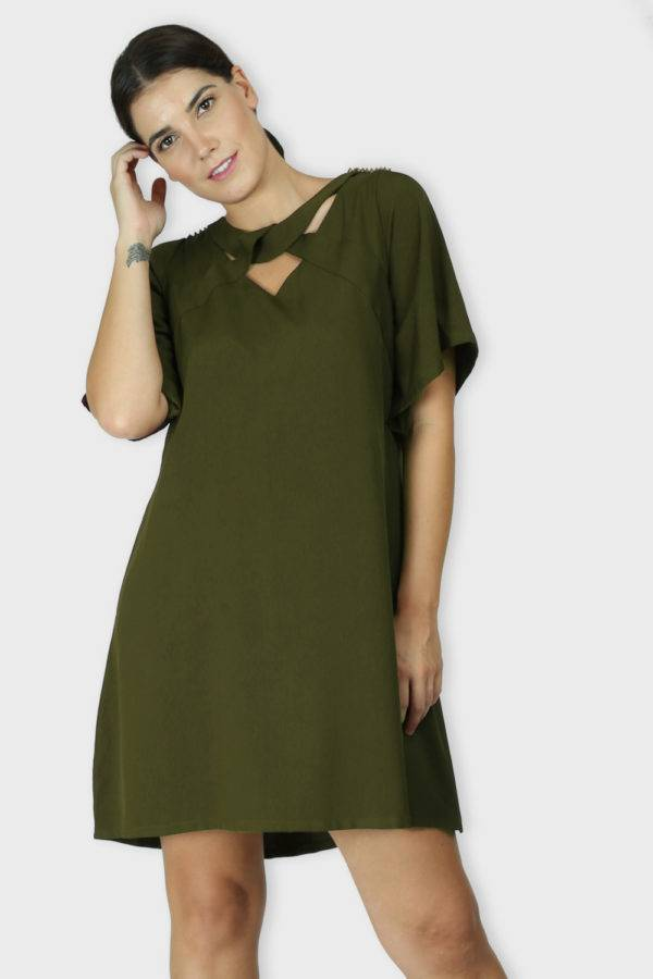 Olive Crisscross Dress