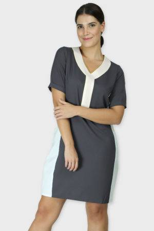 grey color block dress1