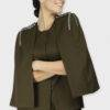 Olive Rivet Sequin Cape Jacket