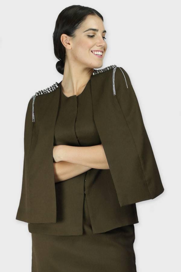 Olive Rivet Sequin Cape Jacket
