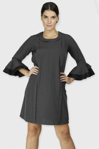Pearl Collar Grey Playful Dress
