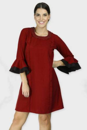 Pearl Collar Playful Maroon Dress