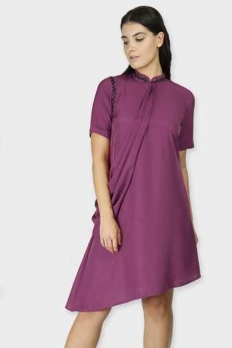 Purple Swarovski Drape Dress