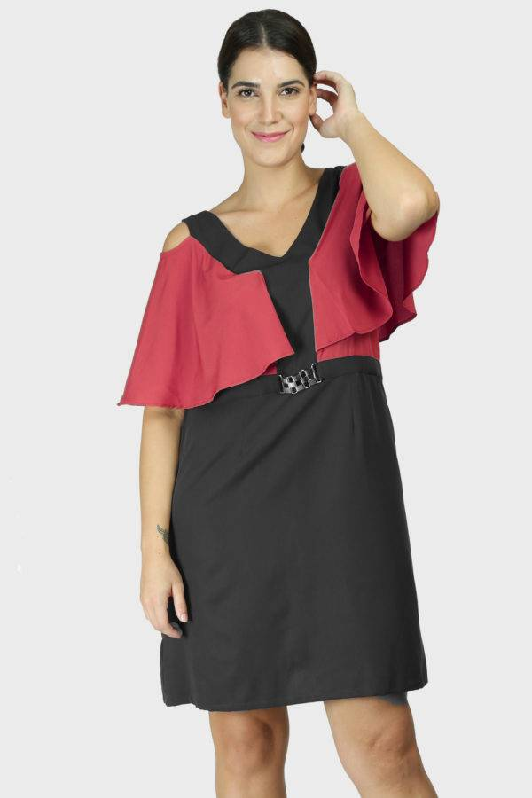 Red Black Color Block Cold Sleeve Dress