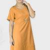 Shoulder Embossed Orange Assymetric Dress