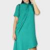Teal Swarovski Drape Dress
