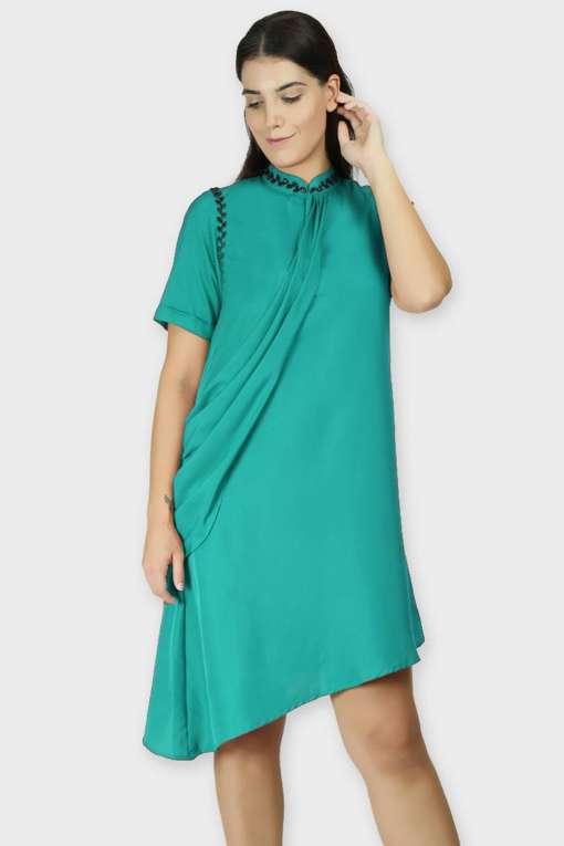 Teal Swarovski Drape Dress