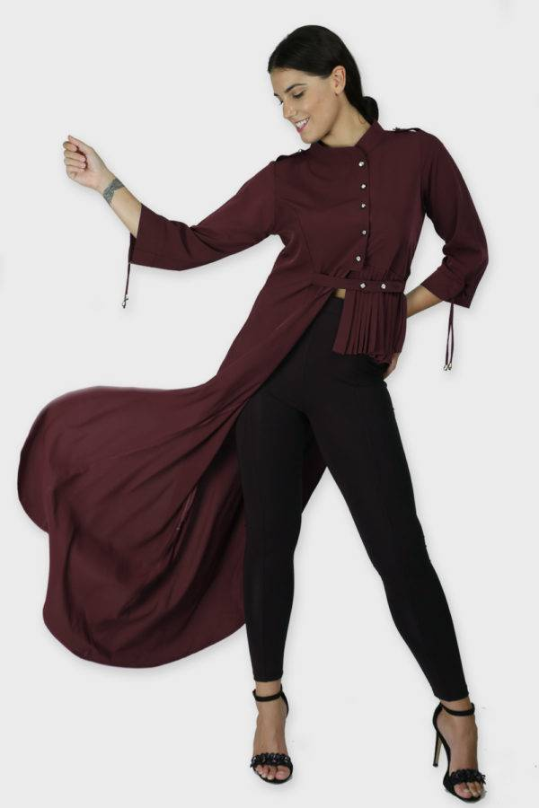 Wine Coloured One Side Flared Shirt