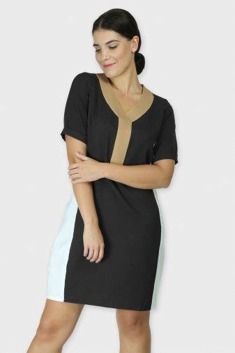 Black Color Block Sheath Dress