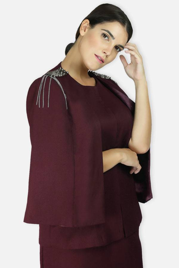 Maroon Rivet Sequin Cape Jacket1