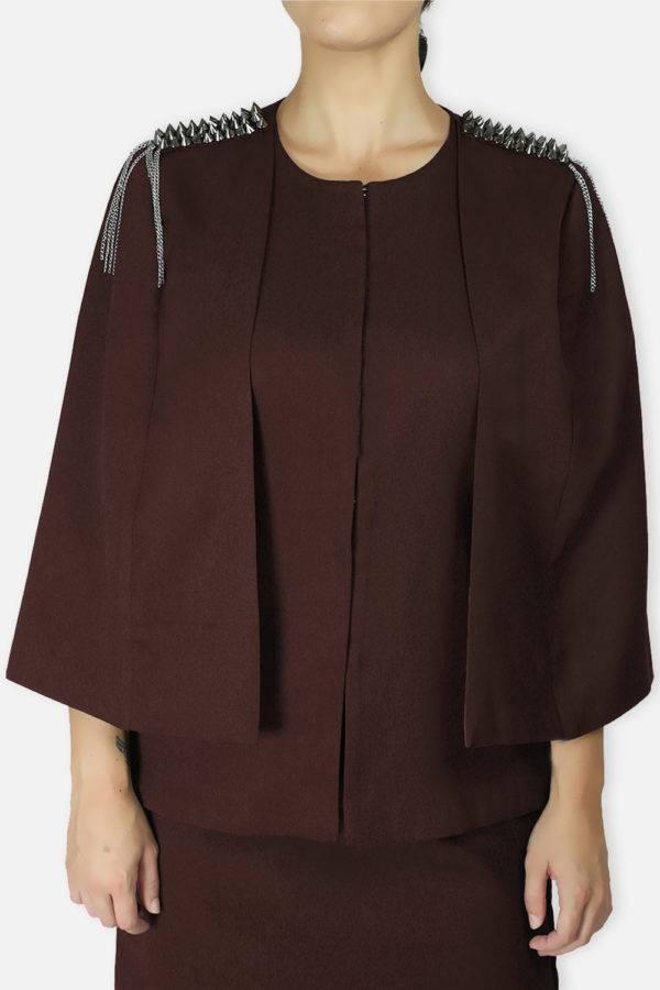 Brown Rivet Sequin Cape Jacket3