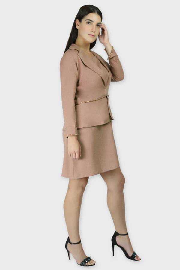 Beige Dress & Blazer Co-Ord10