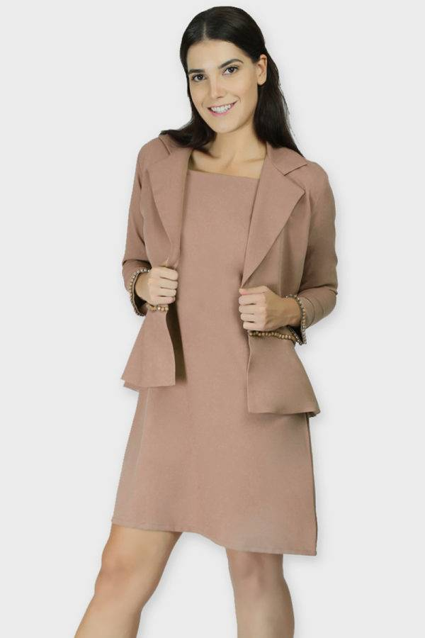 Beige Dress & Blazer Co-Ord4