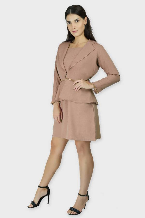 Beige Dress & Blazer Co-Ord9
