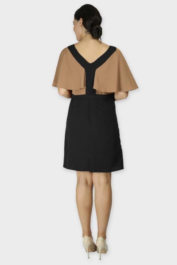 Beige Color Block Cold Sleeve Dress1