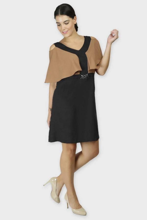 Beige Color Block Cold Sleeve Dress2