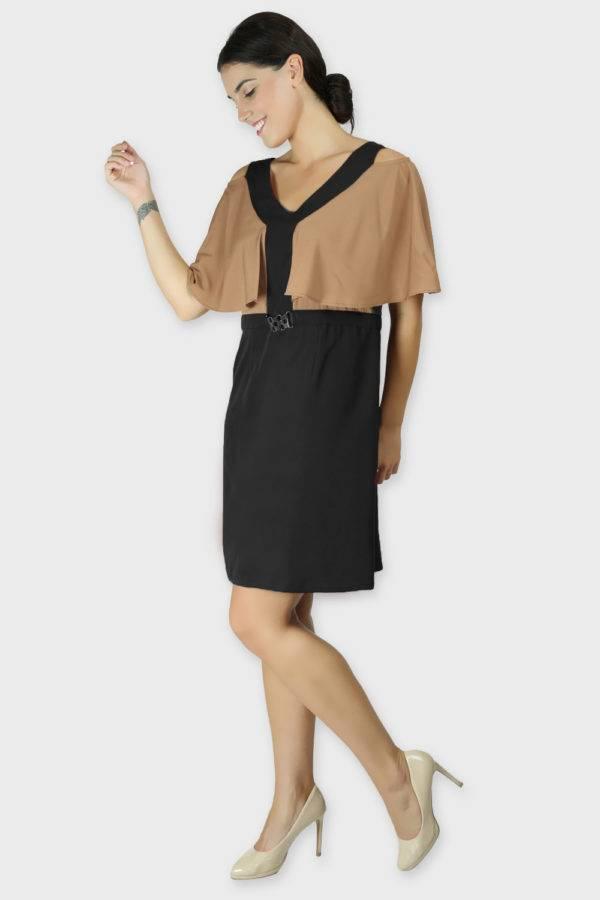 Beige Color Block Cold Sleeve Dress3