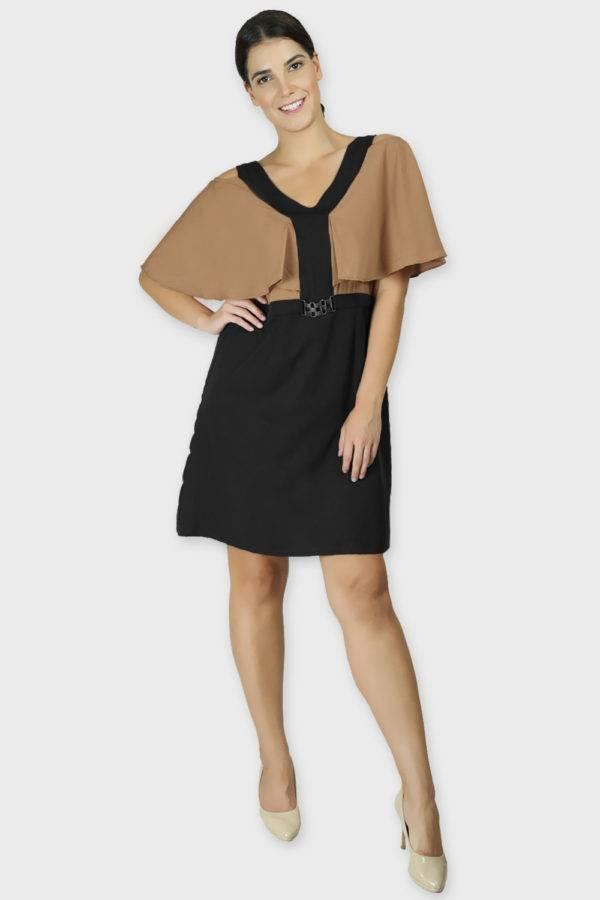 Beige Color Block Cold Sleeve Dress4