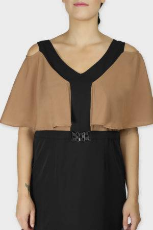 Beige Color Block Cold Sleeve Dress5