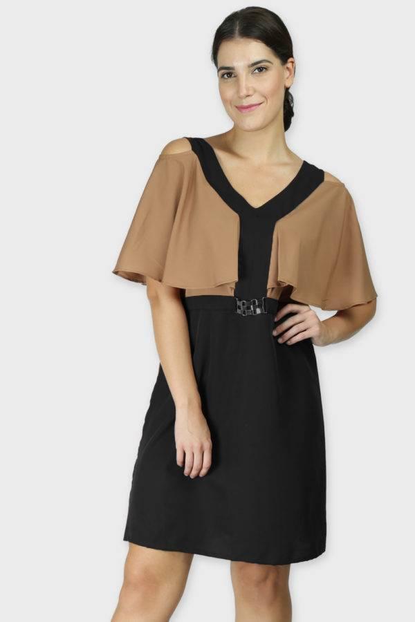 Beige Color Block Cold Sleeve Dress