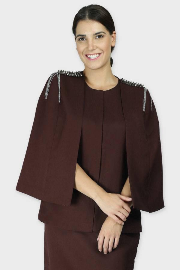 Brown Rivet Sequin Cape Jacket