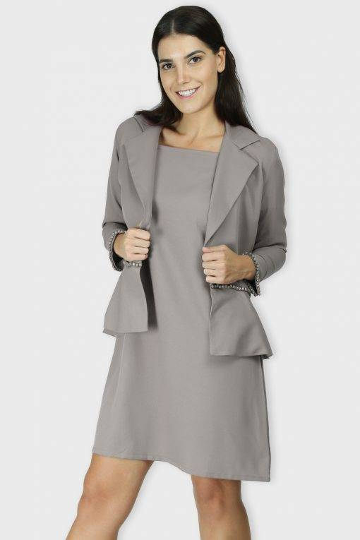 Grey Dress & Blazer Co-Ord