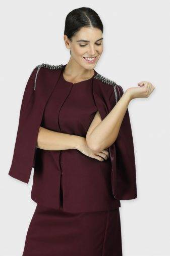 Maroon Rivet Sequin Cape Jacket