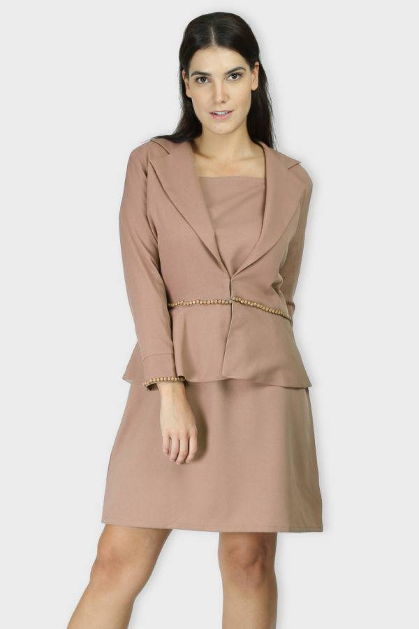 Beige Dress & Blazer Co-Ord