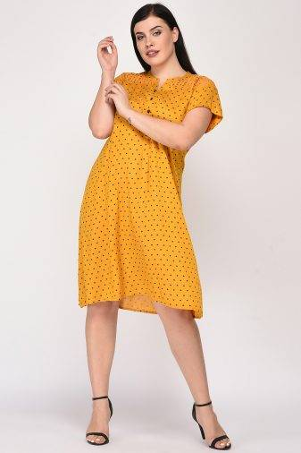 Mustard Cutwork Freestyle Dress3