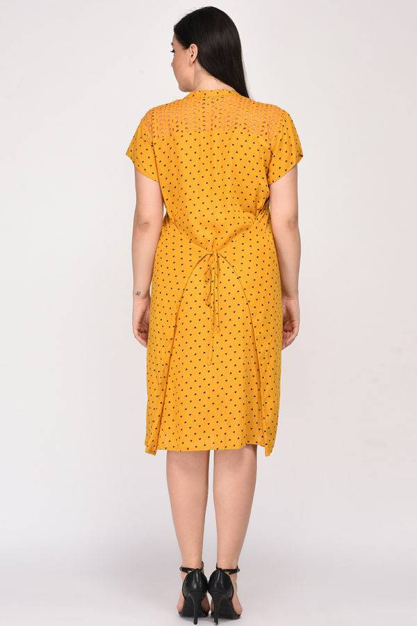 Mustard Cutwork Freestyle Dress5
