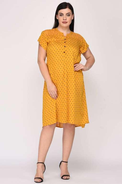 Mustard Cutwork Freestyle Dress7