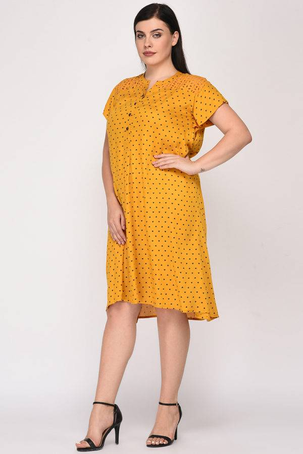 Mustard Cutwork Freestyle Dress8