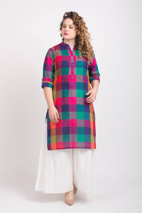 MULTICOLOR CHECKS LONG KURTA 3