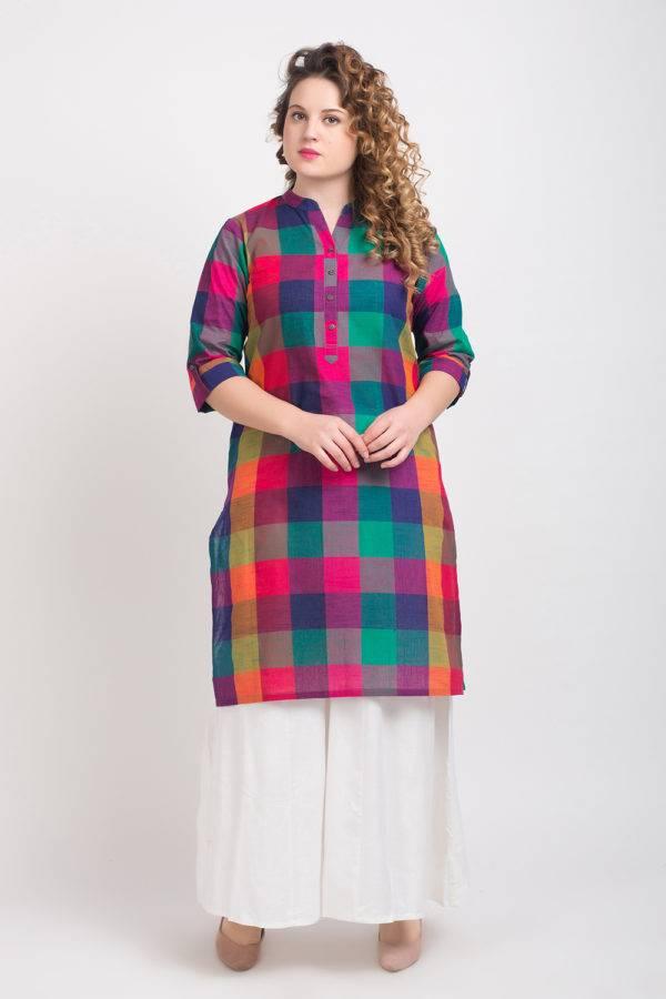MULTICOLOR CHECKS LONG KURTA 4