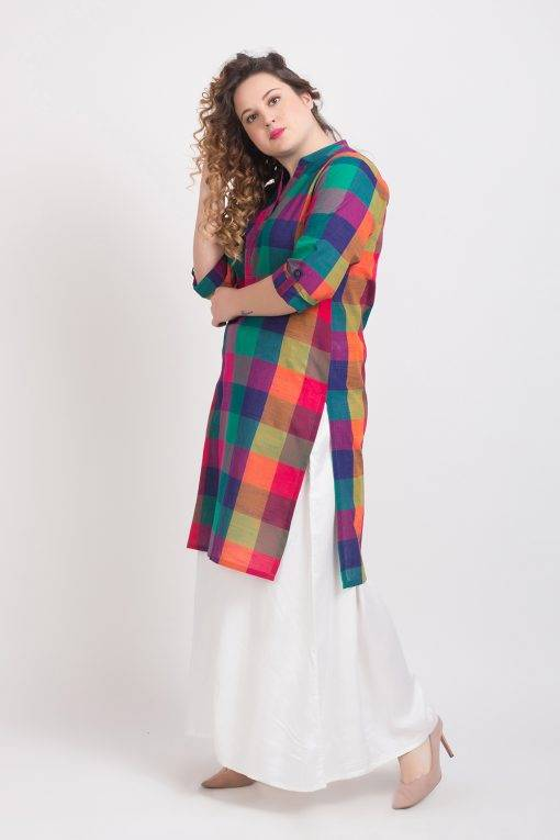 MULTICOLOR CHECKS LONG KURTA 5