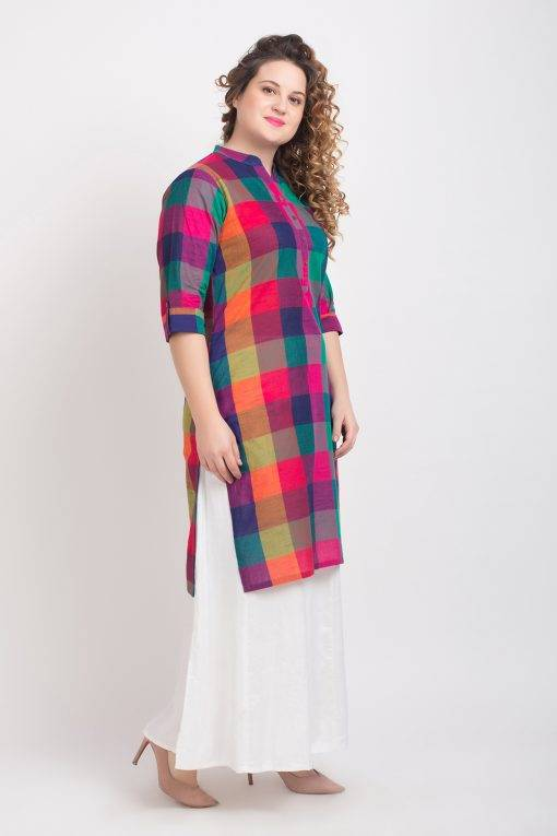 MULTICOLOR CHECKS LONG KURTA 6