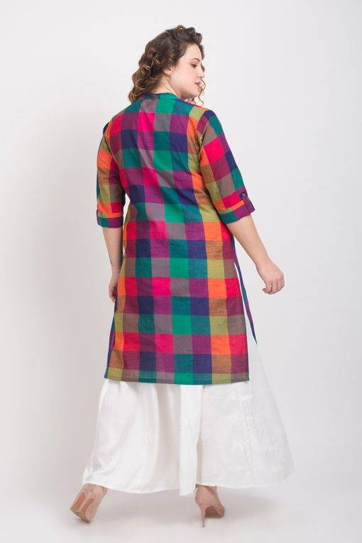 MULTICOLOR CHECKS LONG KURTA 7