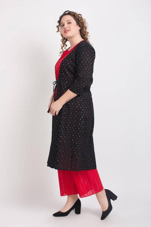Short Kurti With Long Jacket And Palazzo Set Red 4