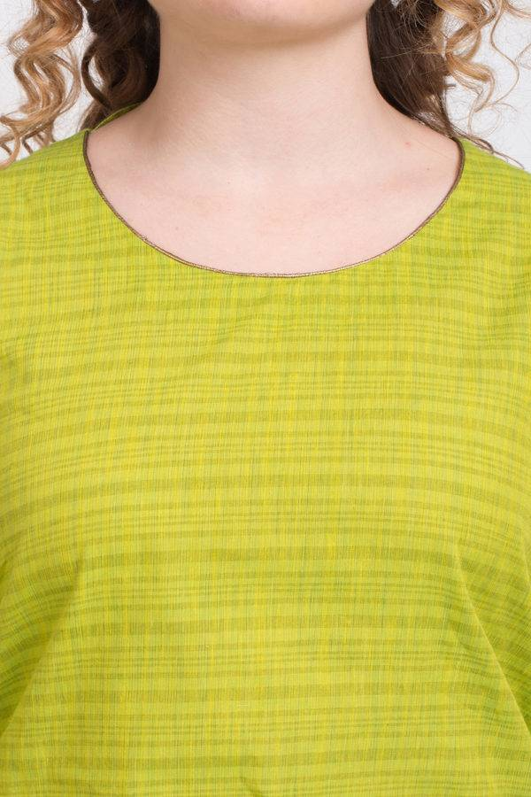 Solid Green Handloom Cotton Kurti1