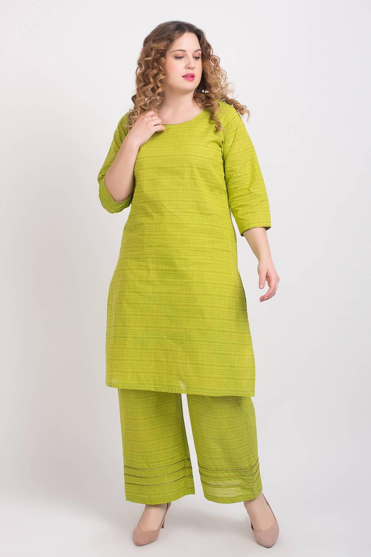 Solid Green Handloom Cotton Kurti2