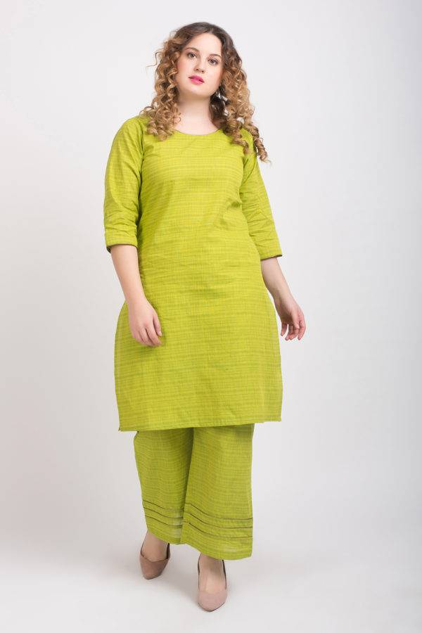 Solid Green Handloom Cotton Kurti3