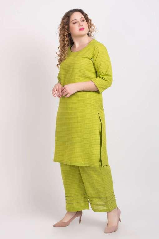 Solid Green Handloom Cotton Kurti4