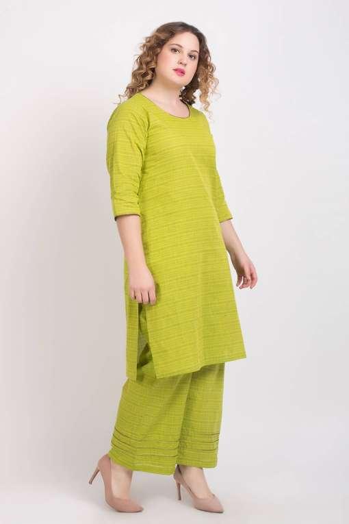 Solid Green Handloom Cotton Kurti5