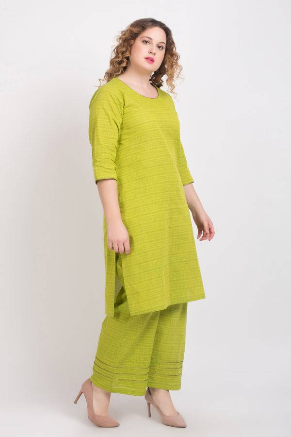 Solid Green Handloom Cotton Kurti5