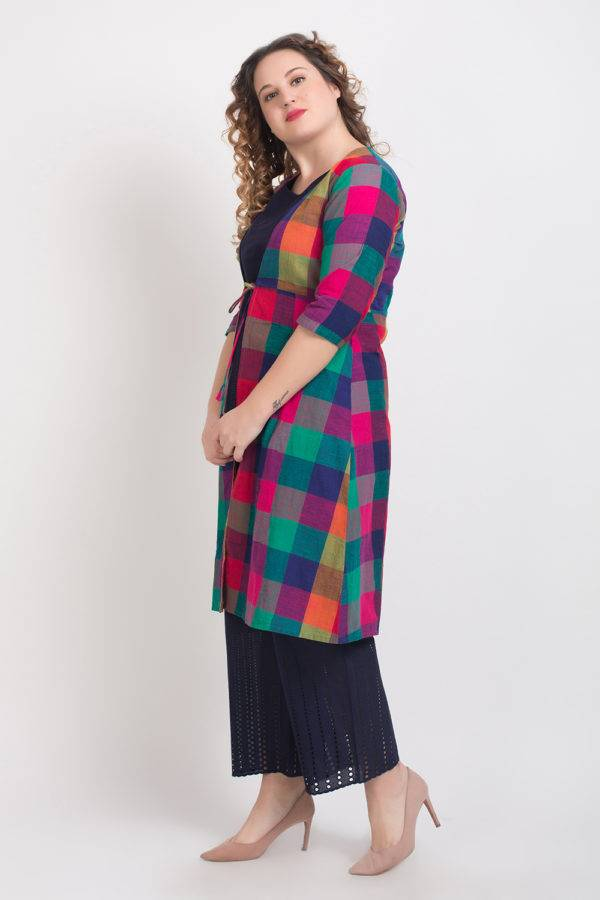 Short Kurti With Long Jacket And Palazzo Set Blue 4